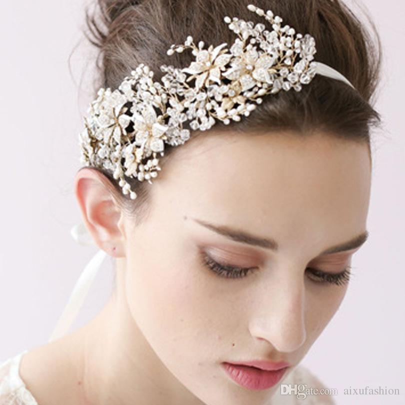 100% handgemachte Haarbänder Prinzessin Crystal Stirnband Strass Braut Kopfschmuck Hochzeit Haarschmuck Perle Kristall Frauen Haarschmuck