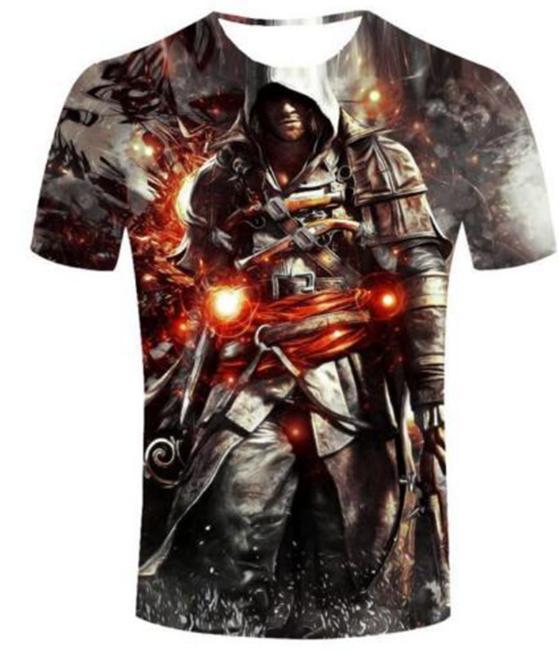 Yeni Moda Yaz Erkekler / Kadınlar Assassins Creed Harajuku Tarzı Komik 3d Baskı Rahat T-shirt S-5XL H95