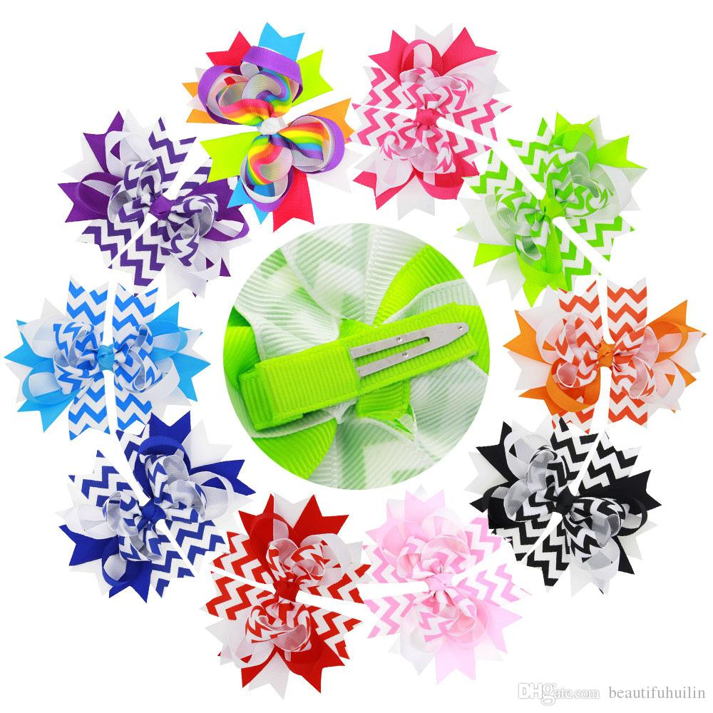 12Pcs 5 Inch Girls Wave Rainbow Layered Ribbon Bows Hairpin Baby Girls Handmade Hair Clip Beautiful HuiLin DW55