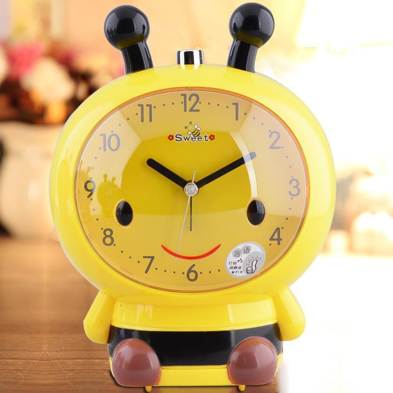 Moda criativa pequena abelha silenciosa despertador direto da fábrica de venda da lâmpada luminosa duplo tom crianças despertador