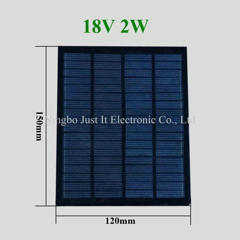 30pcs / lot راتنجات الايبوكسي الصغيرة لوحة للطاقة الشمسية 18V 2W 120 * 150mm