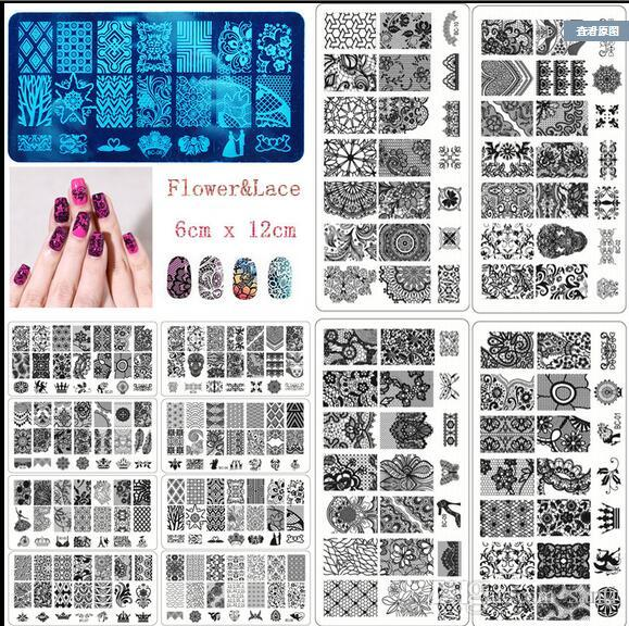 20 designs BC Series Square Stainless Steel Nail Art Stamp Template Manicure Nail Tools Nail Stamping Plates