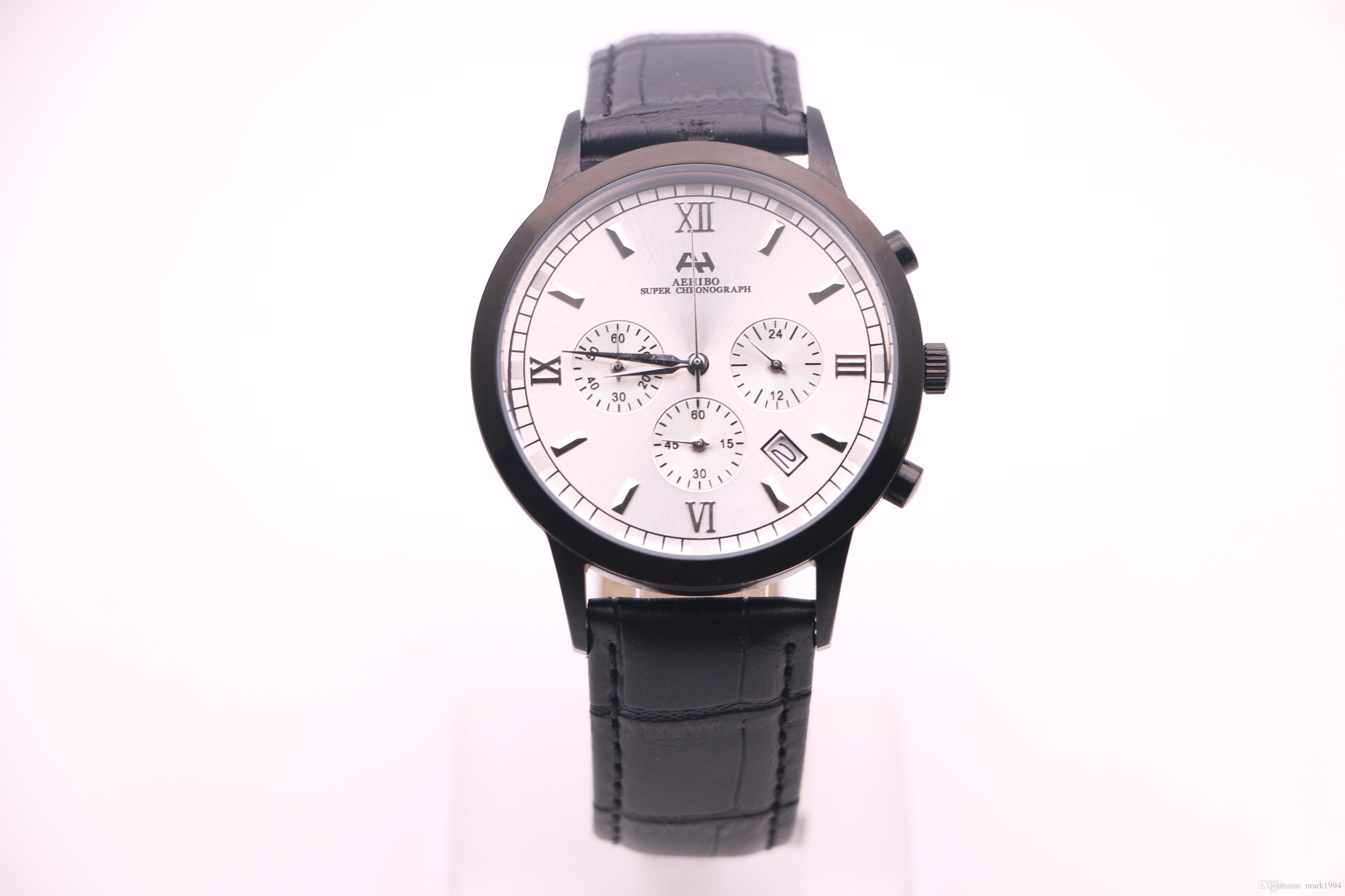 2017 ، ماركة AEHIBO الجديدة ، ساعات رجالية جديدة ، حركة كوارتز VK كرونوغراف تعمل ثواني ، حزام جلد أسود ، قرص أبيض ، علبة ساعة