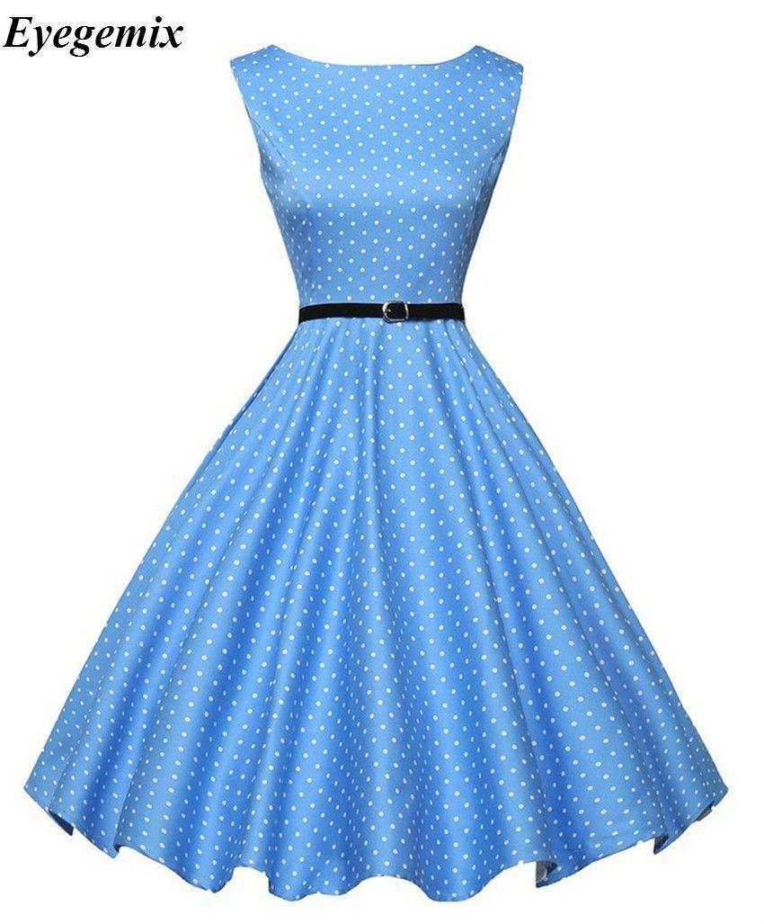 großhandel frauen 60er jahre 50er jahre kleid elegante vintage rockabilly  pinup party kleider xxl frauen blau weiß dot print kleider für frauen 2017