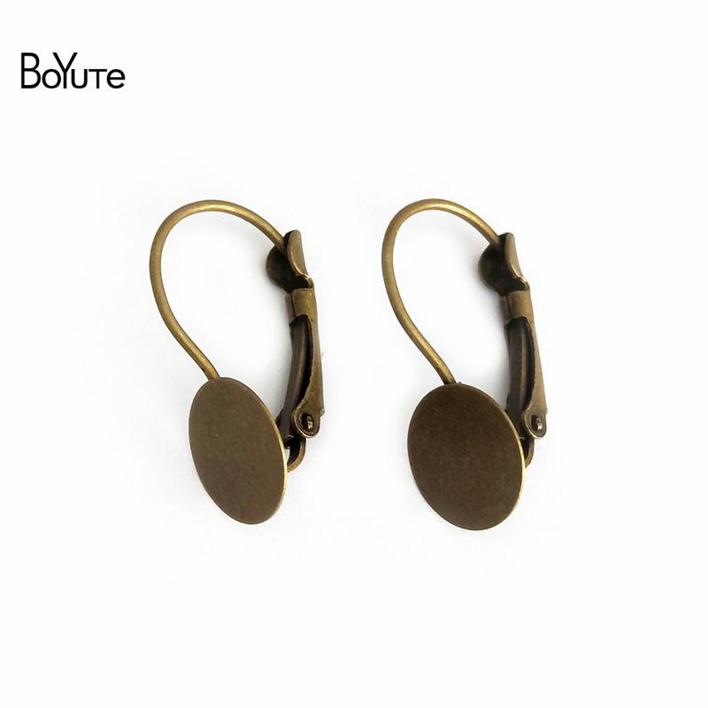 BoYuTe Hot 100Pcs 10MM Round Cabochon Base Setting Flat Earring Blank Tary Diy Jewelry Making Materials