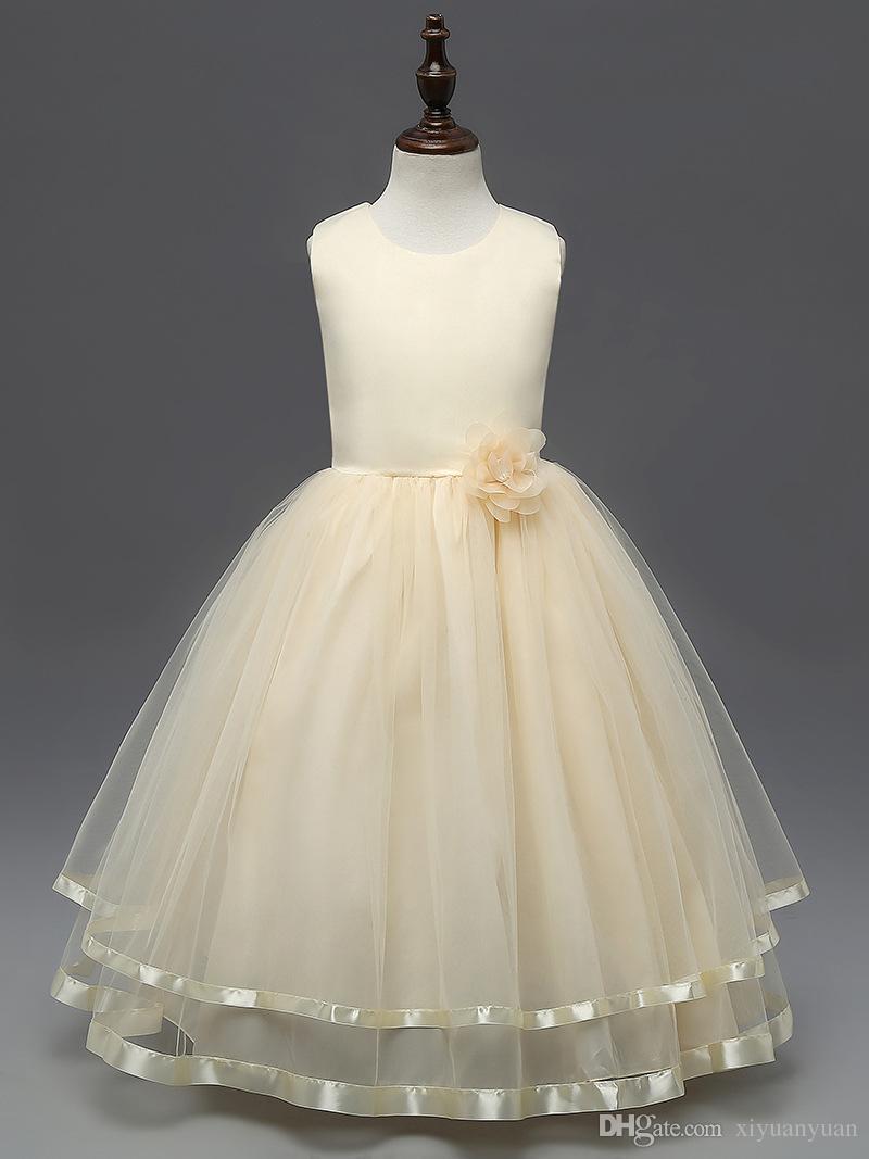 Compre Princesa Vestido De Niña De Flores Color Puro Cinturón Flores Vestido Largo Vestidos De Fiesta Para Niñas De Encaje Vestido De Niña Bebé Tutu A