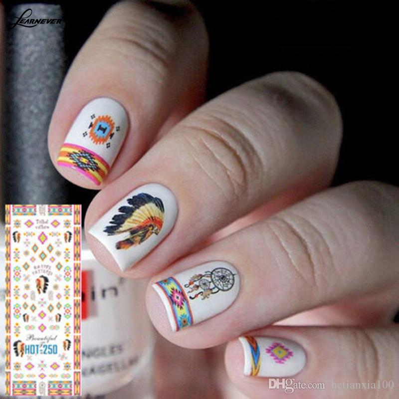1 Ficha Decoração Tribal Pattern Nail Art Manicure água decalque adesivo Transferência