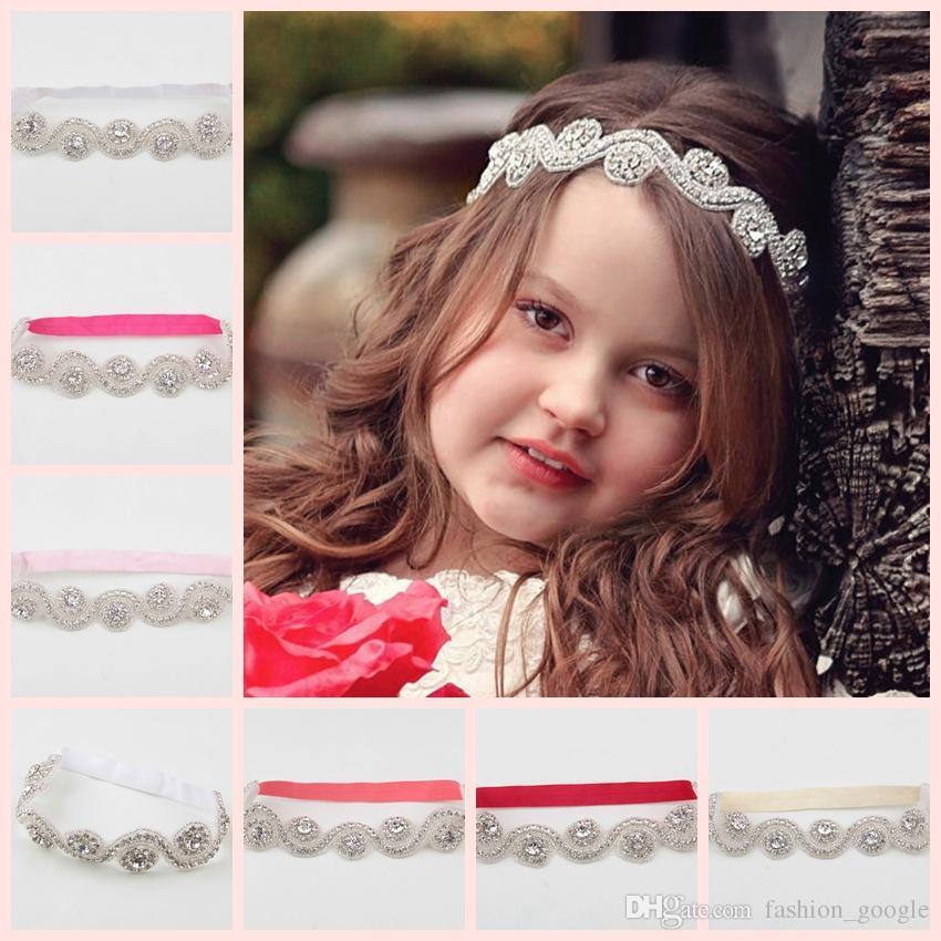 2017 Bling Bling Bebek Saç Aksesuarları Düğün Doğum Günü Noel Rhinestones Küçük Kızlar için Saç Bantları Çocuklar Hediye olarak Çiçek Kız