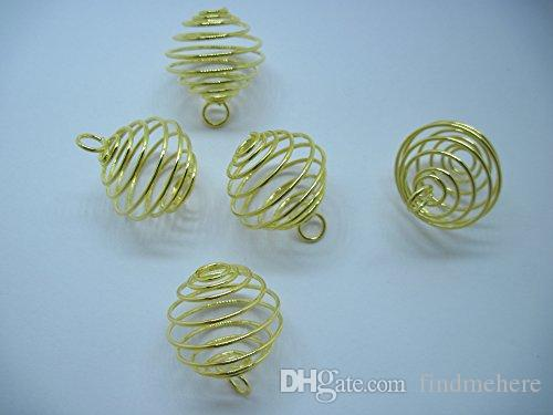 Wholesale Price - Free Shipping 50Pcs/Lot Metal Spiral Bead Cages Pendants Findings 20mm Jewellery Making DIY Finding