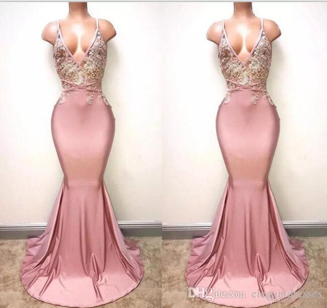Dusty Pink Sexy Spaghetti cinghie Mermaid Prom Dresses 2018 Deep V Neck Sexy Backless Lace Paillettes in rilievo lungo abiti da sera formale