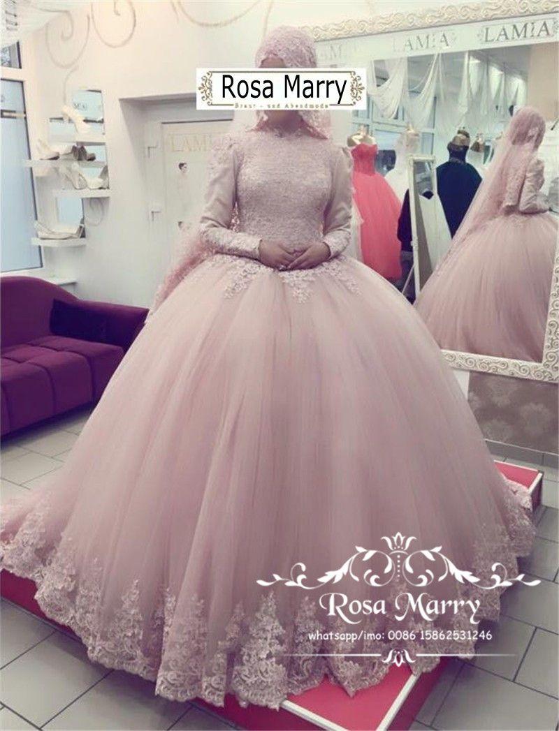 Großhandel Blush Pink Islamic Ballkleid Brautkleider 2018 High Neck ...