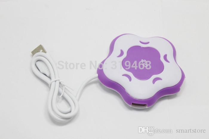 500 pz / lotto RA Flower Shape 4 Porte 4 Port Hub USB 1.1 7 Colori per Scegliere a Forma di Fiore Cambia Colore LED Light Spedizione Gratuita 0001