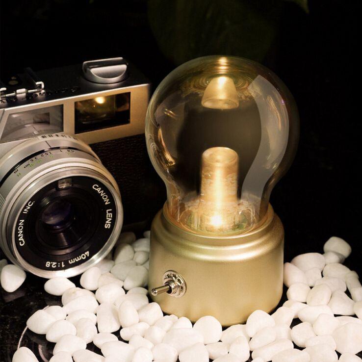 Vintage USB metalik cam ampul yaratıcı lamba Nightlight LED göz başucu lambası şarj