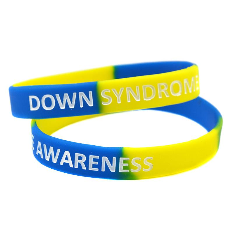 1PC Down Syndrome Awareness Silicone Rubber Wristband Great For Daily Reminder By Wearing This Colourful Bracelet