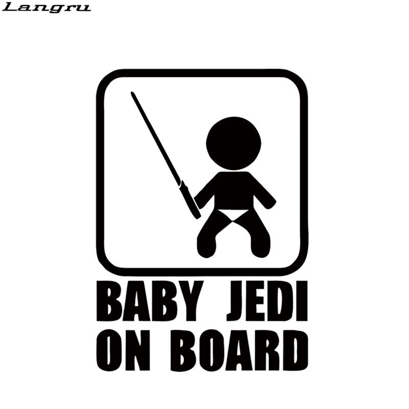 Cool Graphics Baby Jedi On Board Car Styling Sticker Cool Baby Take The Sword Funny Car Tail Decal JDM