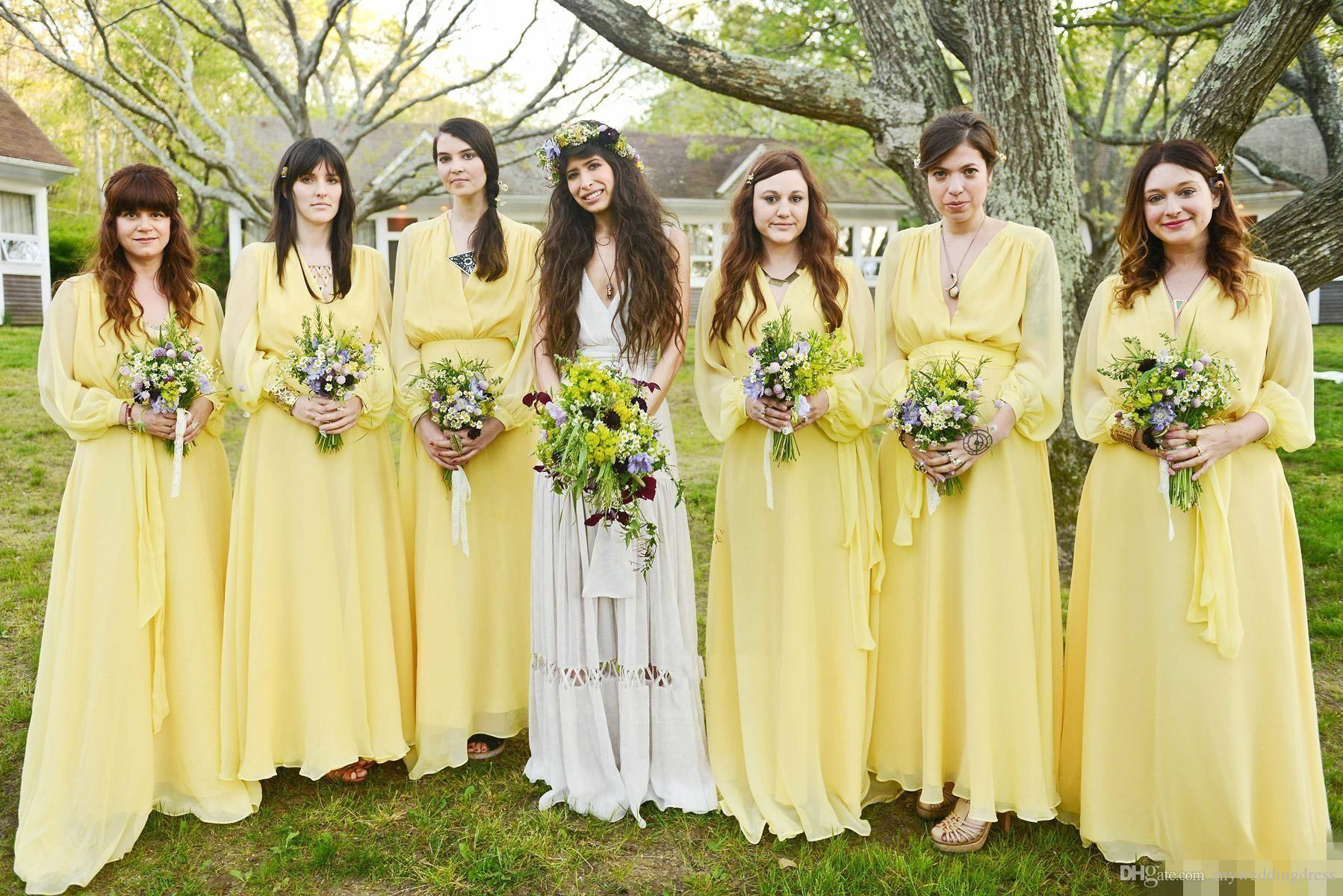 2017 beach daffodil yellow chiffon bridesmaid dress with long 2017 beach daffodil yellow chiffon bridesmaid dress with long sleeves junior bridesmaids dresses with ruffles wedding ombrellifo Image collections