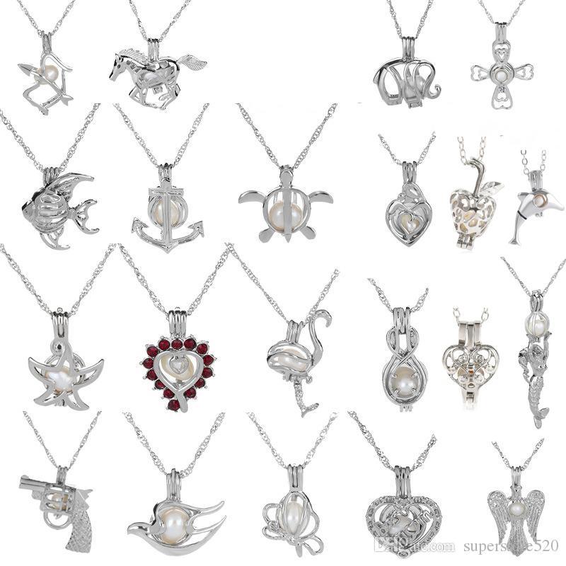 18 kgp amor de la manera deseo perla / gema perlas medallón jaulas colgantes, colgantes del encanto del collar de la perla DIY 50 unids