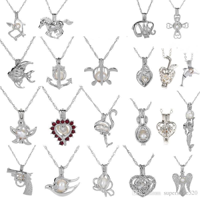 18KGP Love Wish Wish Pearl / Gem Beads Locket Cage Pendants, collana di perle fai da te pendenti di fascino pendenti 50pcs