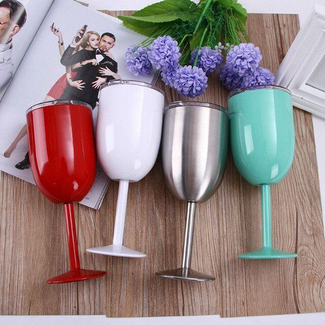 Termal / Soğuk Yalıtım için 10 oz Şarap Gözlükleri RTIC Tarzı ŞARAP CAM Fincan Kadeh Bilayer 10 oz Şarap Gözlükleri Gerçek Kuzey