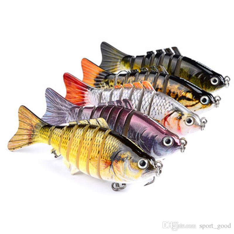 5 cores 10 centímetros Multi-seção de 15,5 g de peixe de plástico rígido iscas de pesca Ganchos anzóis Olhos 3D Pesca Lure Gancho Isca Artificial Pesca Enfrente