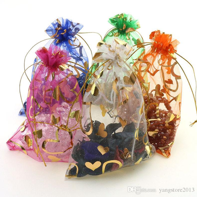 도매 새로운 무료 배송 7x9cm 200Pcs 심장 Drawable Organza 웨딩 선물 BagsPouches 쥬얼리 포장 보석 만들기 결과 만들기