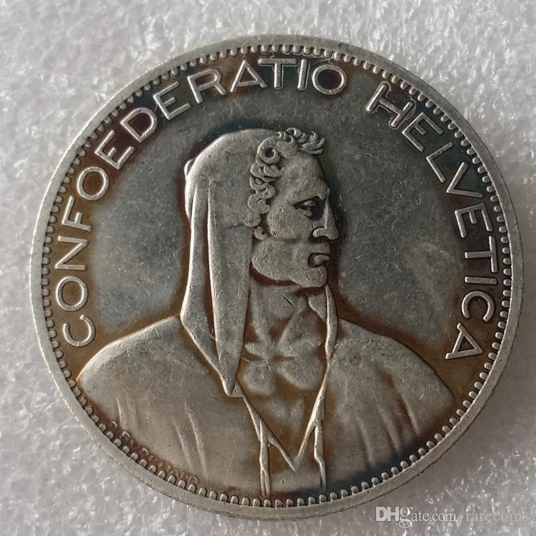 1922 Suisse (Confédération) Argent 5 Francs (5 Francs) Copie Diamètre de la pièce de monnaie: 37mm