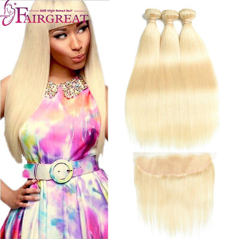 613 # Brasiliano Dritto e Body Wave Bundles Bundles Blonde Virgin Hair Capelli Tessuto Bundles con chiusura 613 # Estensioni biondi dei capelli umani