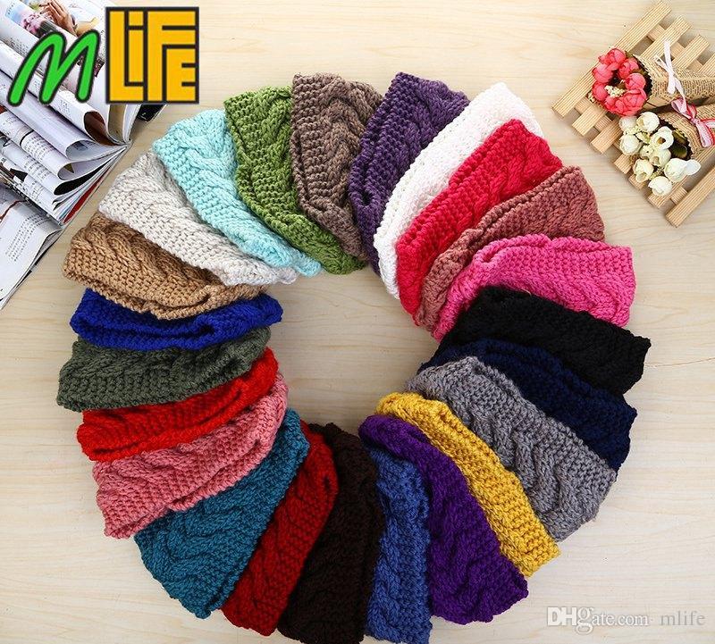 Winter Beauty Fashion 24 Colors Flower Crochet Knit Knitted Headwrap Headband Ear Warmer Hair Muffs Band Q1