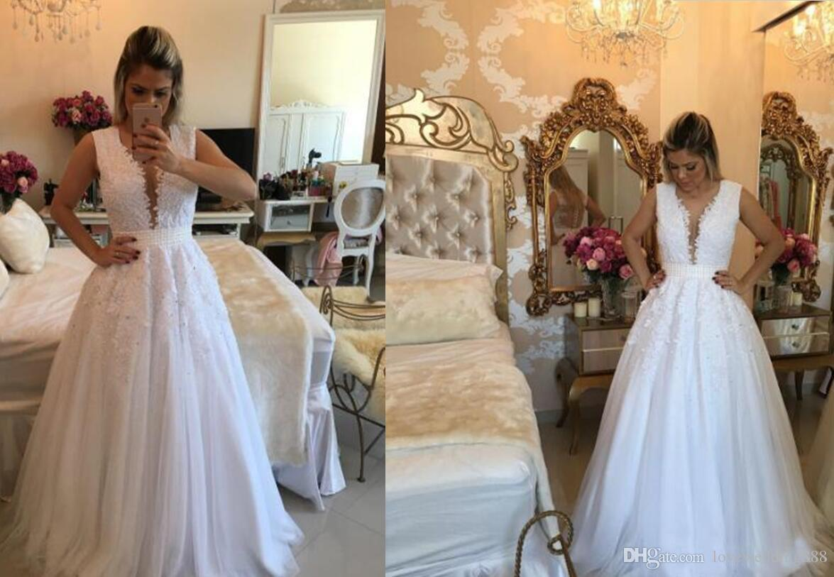 Weiße Applique Lace A Line Brautkleider Arabisch Sheer Zurück Bodenlangen Brautkleid Günstige Vestido 2017