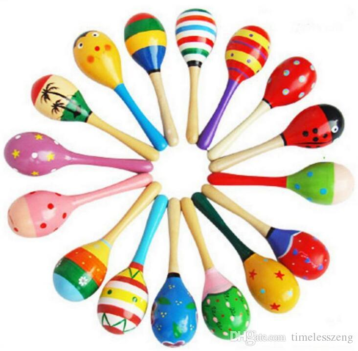 120pcs/lot 2015 0-12 month baby New Wooden Maraca Orff Rattles Kid Musical Party Favor Child Baby Shaker Toy