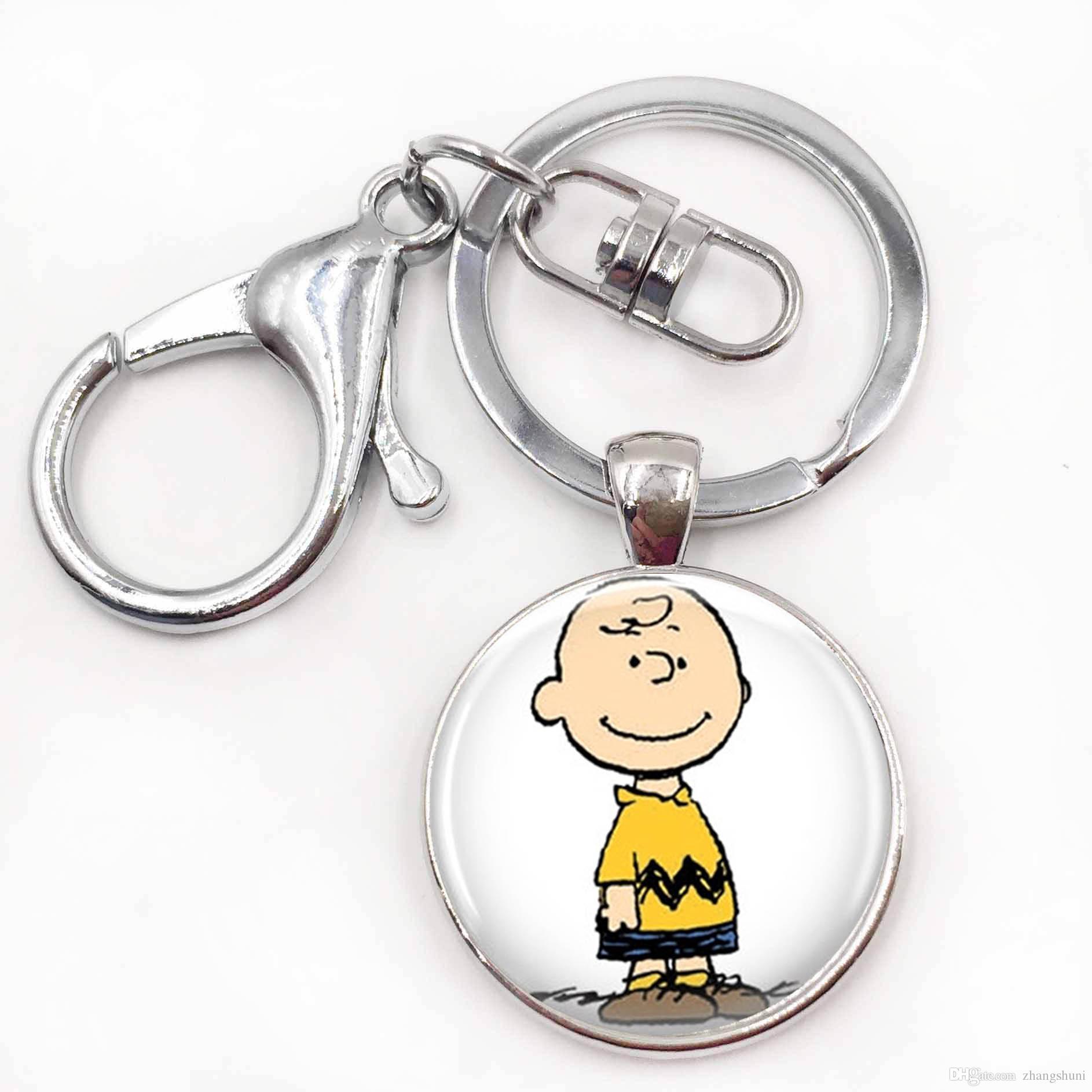 HandmadeDIY Charlie Brown Chaveiros O Amendoim Saco de Jóias Pingente de Chave Do Carro Titular Presente de Natal para As Mulheres para Homens
