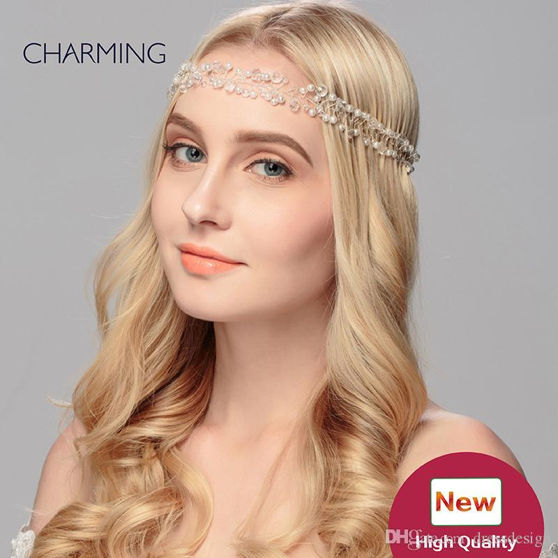 Wedding accessories pretty hair accessories bridal pearl flower headband bridal tiaras crystals pearls hair accessories for sale wholesale
