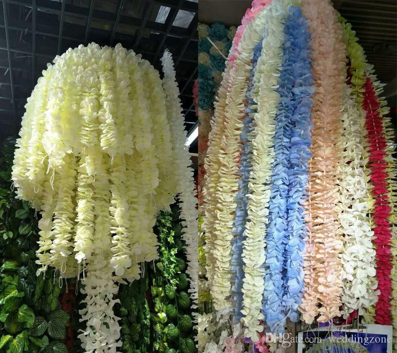 Artificial Orchid Wisteria Vine Flower 79 Inch[2M] Silk Orchid Wreaths For Your Wedding site layout