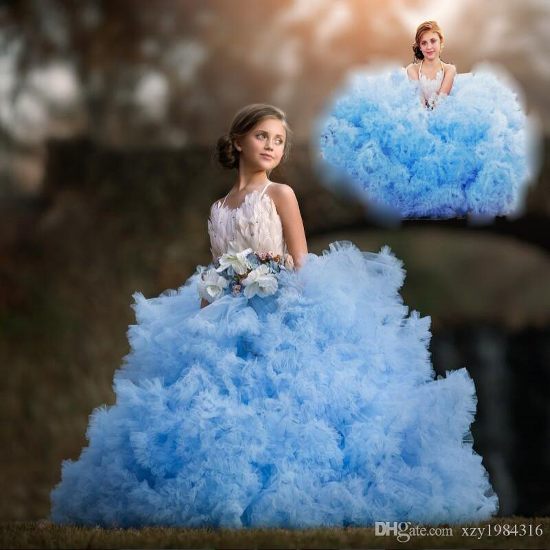 Cloud Blue Girls Pageant Dress 2017 Lovely Fashion Crystal Luxury Feather Communion Dress Bow Puffy Tiered Flower Girls Dresses For Wedding