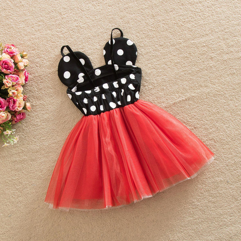 Girls Dots Cartoon Tutu Party Dress Halter Sundress Red Tulle
