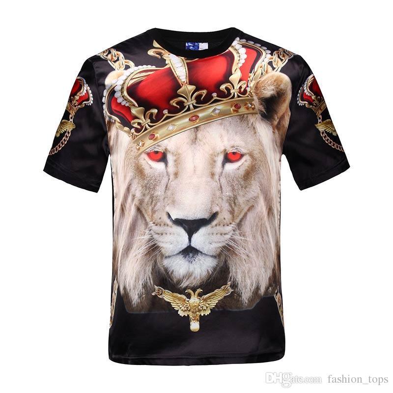Mikeal Горячий надельный короткий рукав глянцевый район 3d футболка печать красные глаза корона льва сценический спектакль футболка летние топы тройники