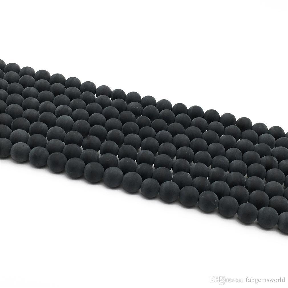 Perle di opaco nero opaco, perline rotonde di 8 mm 10mm, perline di pietre preziose all'ingrosso, 15.5 pollici, filo pieno, foro 1 mm