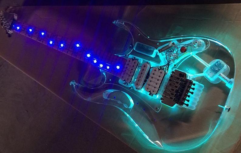 Rare 77 Acrylic Body LED Light 12 Colors Changed Electric Guitar MOP Abalone Vine Inlay Tremolo bridge Locking nut Monkey Grip Maple Neck