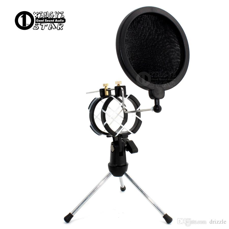 Desktop Adjustable Pop Filter Clip Mikrofon Tripod Folding Karaoke Microphone Stand Windscreen Mask Shield PC Recording Mic Holder Clamp