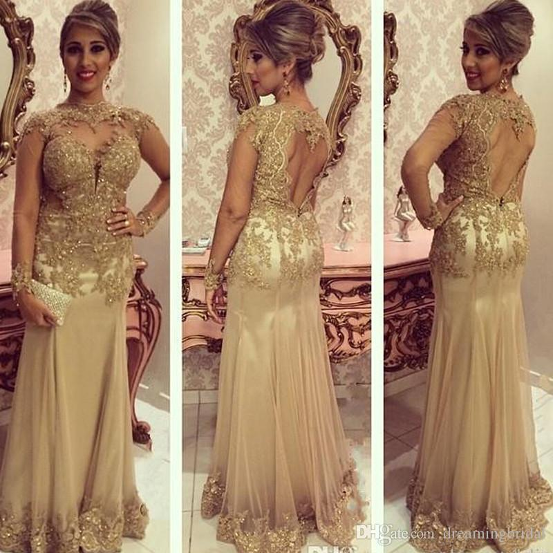 Gold Mermaid Mutter der Braut Kleider Illusion Sicke Jewell Ausschnitt Open Back Abendkleid Langarm Spitze Applique Formal Abendkleid Dres