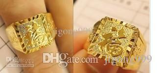 古典的な黄色い金は彫られました「祝福」という言葉の男性の指輪