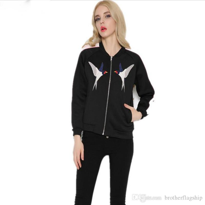 Women Collection Embroidery Birds Jacket Space Cotton Short Coat Fashion Bomber Jacket Outwear For Spring Autumn Winter