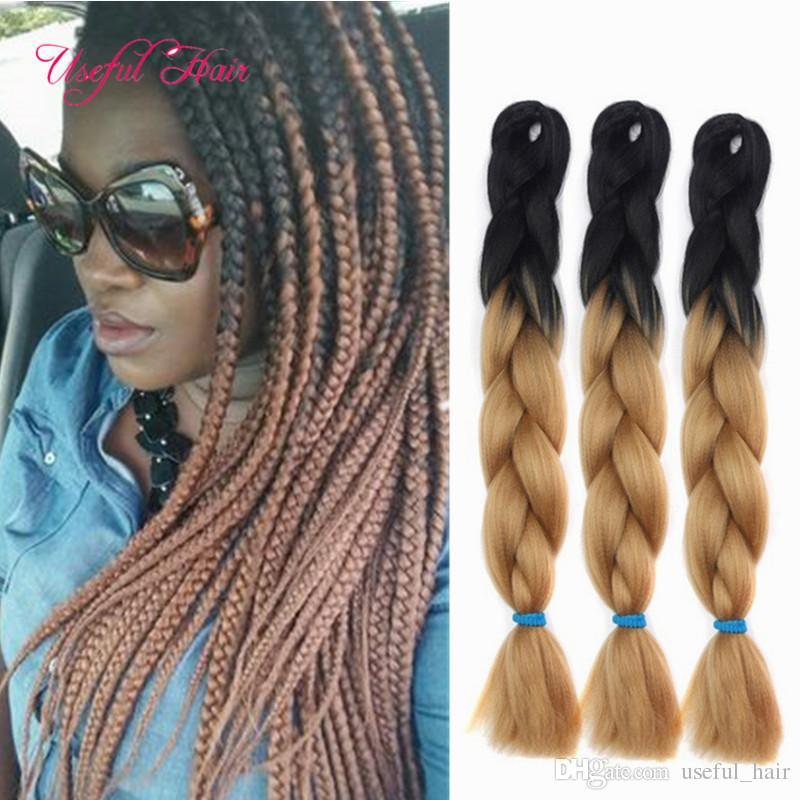 doppelte Länge 24inch Ombre braune Farbe JUMBO BRAIDS Verlängerungen de Cabello 24inch SYNTHETISCHE Flechten Haarverlängerungen häkeln Zöpfe Haar