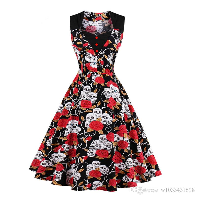 2017 Woman Summer Dress Ladies Midi Vestido Pin Up Vintage Rockabilly Retro 50s 60s Polka Dot Floral Skull Printed Pin Up Party Dresses Robe Red And