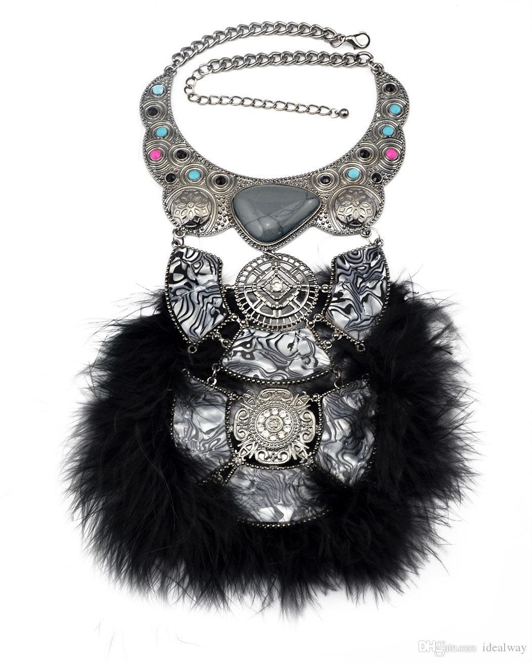 Idealway Mode ethnische Frauen edle Kristall Feder Anhänger Hohe Qualität Softglam Federketten Choker Aussage Halskette