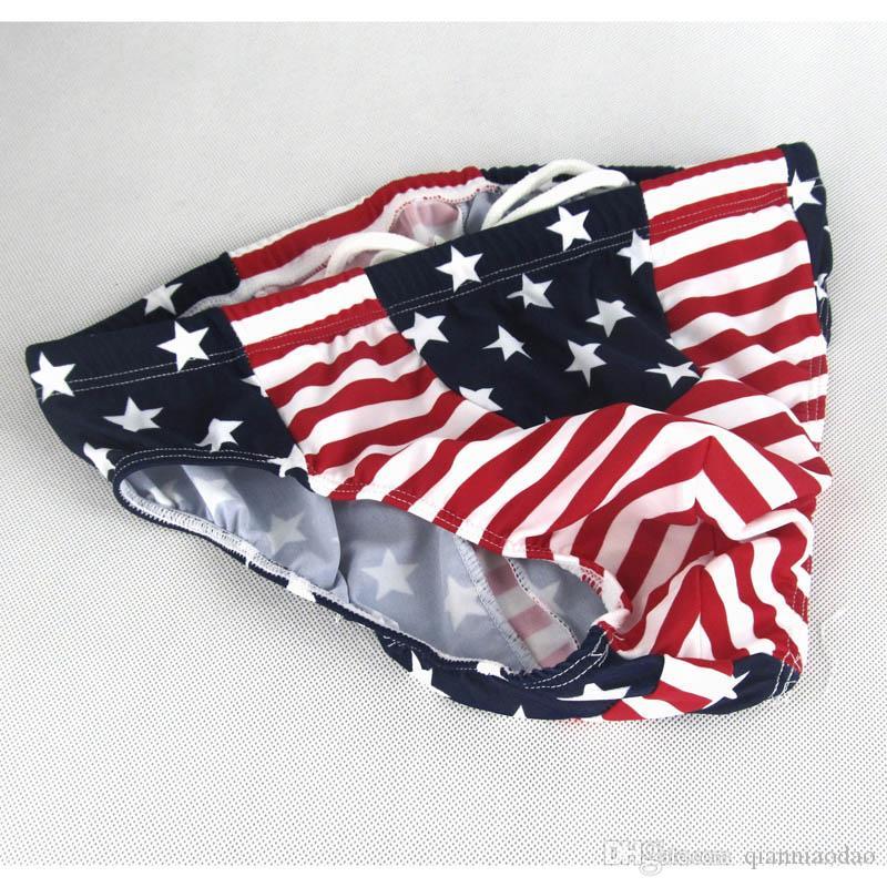 Erkek Yüzmek Külot Iç Çamaşırı G8414 ABD Bayrağı Yıldız Stripes Çizgili kese Mavi Kırmızı Baskılı naylon spandex