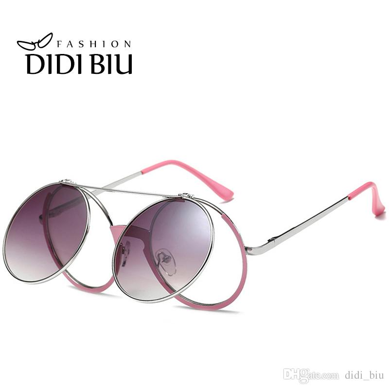 DIDI Round Steampunk Clip On Sunglasses For Prescription Women Men Flip Double Shade Eyewear Clear Circle Lens Mirrored Rock Spectacles U636