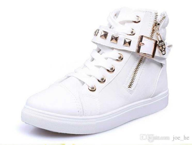 Nuovo stile moda 2017 tendenza sneakers per le donne punta rotonda donna casual high top in gomma suola delle donne scarpe di tela 35-40 vendita al dettaglio