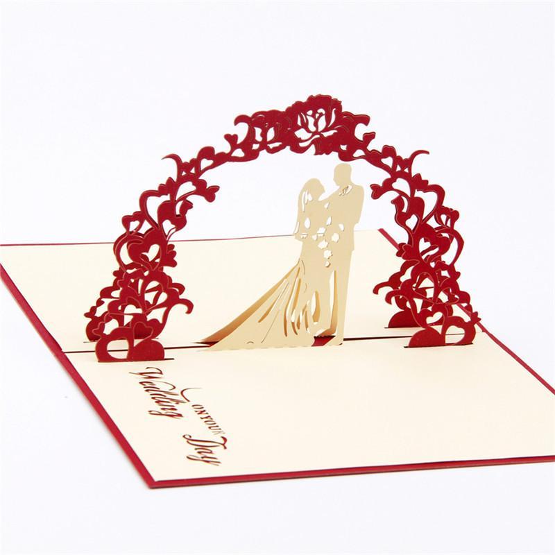 10 adet / grup Hallow Out 3D Pop UP Tebrik Hediye Kartı Düğün Davetiyeleri Yaratıcı Kirigami Origami Katlanabilir Tebrik Kartları