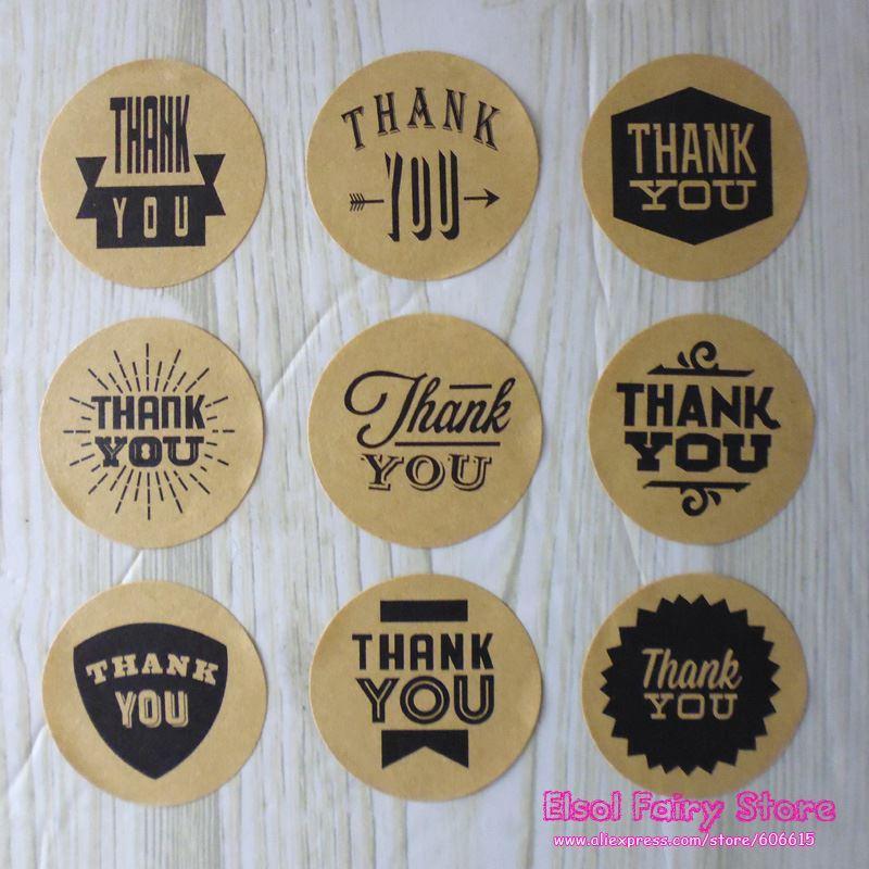 9 Design Kraft Style Grazie Circle Seal Sticker Creativo Adesivo in carta regalo fai da te per bomboniere Candy Bag Decorazione scatola
